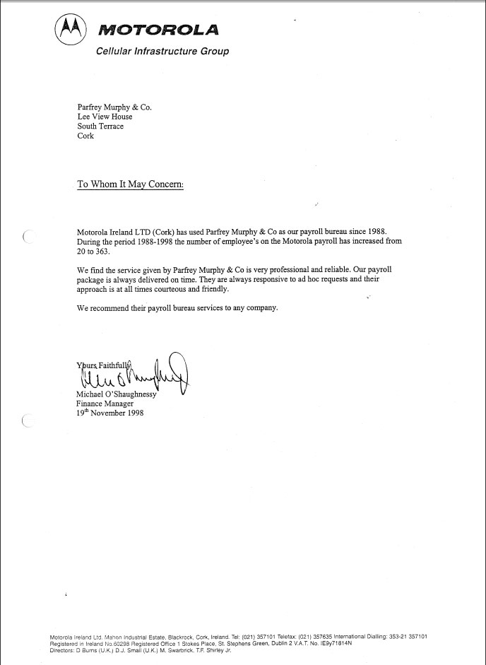 Business Dealings  Letters